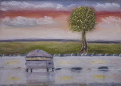 Pastellmalerei: Blick aus der Backstube in die Morgenröte