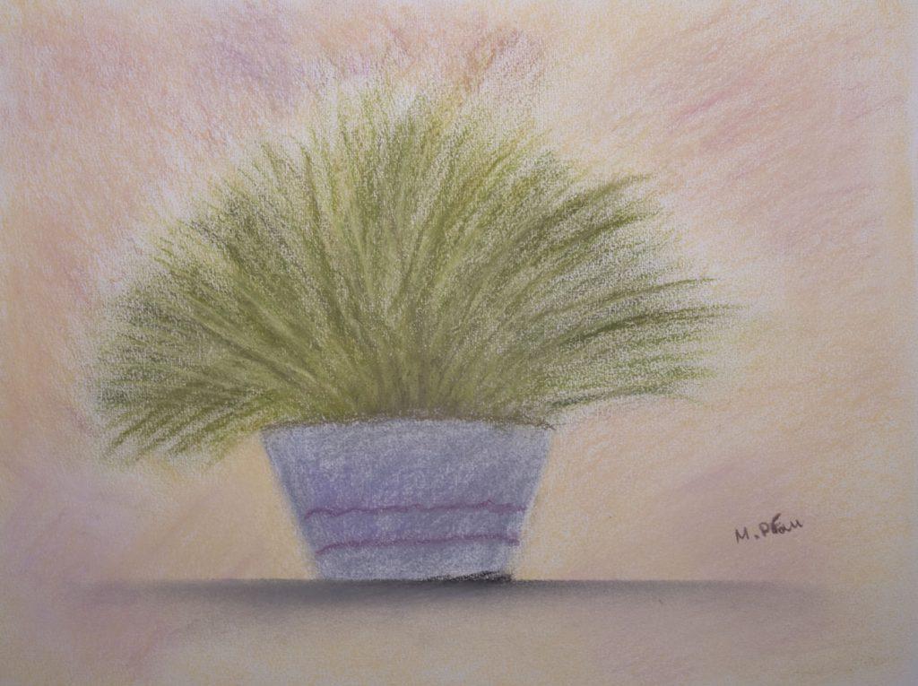 Moderne Stillleben Kunst: Zitronengras im Blumentopf - gemalt von Marion