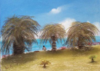 Meerblick unter Palmen