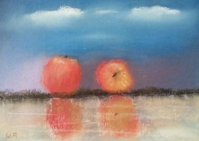 Zwei Äpfel am Wasser