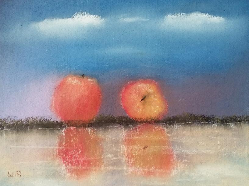 Stillleben Stillleben malen oder malen lassen | Stilleben Obst |Stillleben Apfel | Zwei Äpfel am Wasssermalen | Stilleben Obst |Stillleben Apfel | Zwei Äpfel am Wassser