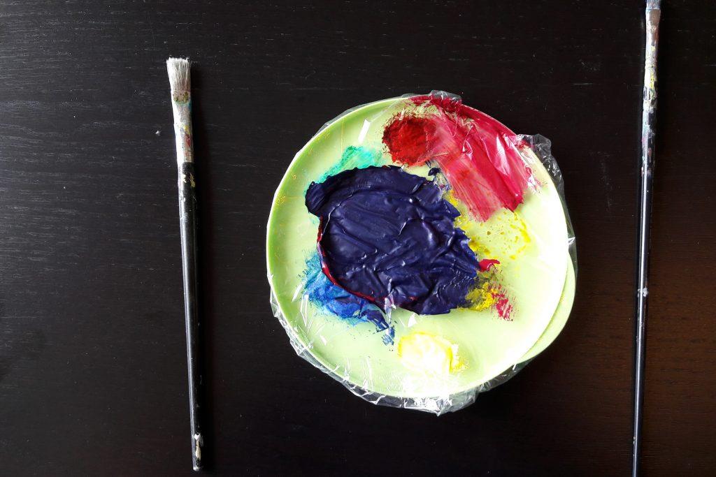Intuitives malen mit Acryl - störendes kann perfekt übermalt werden.