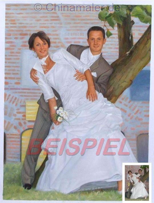 Ölgemälde vom Hochzeitsfoto auf Leinwand - Portraitmalerei