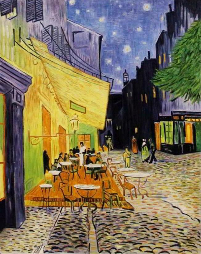 Berühmte Ölgemälde: Caféterrasse am Abend (1888) Öl auf Leinwand, 81 × 65,5 cm Kröller-Müller Museum, Otterlo (Niederlande) Vincent van Gogh (* 30. März 1853 in Groot-Zundert - 29. Juli 1890 in Auvers-sur-Oise) Post-Impressionismus