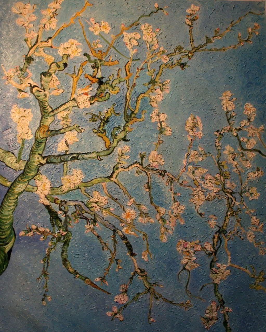 Berühmte Ölgemälde: Mandorlo in fiore oelgemaelde auf leinwand, Vincent van Gogh 1890 originalgroesse 73.3 cm x 92.4 cm original im Van Gogh Museum, Amsterdam oelgemaelde alte meister