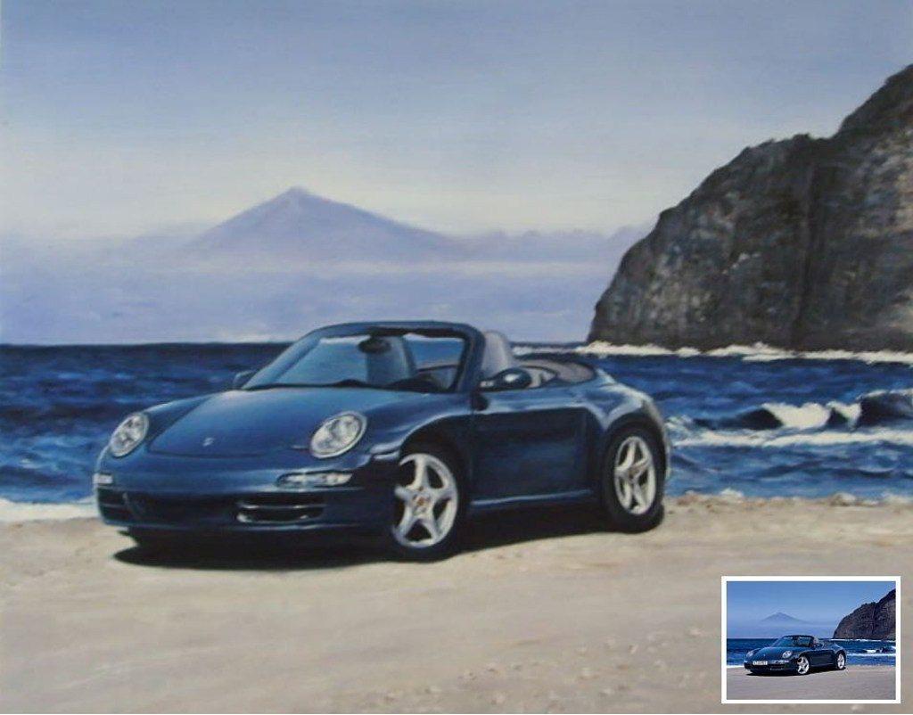 China-Malerei: oelgemaelde porsche 911 cabrio reproduktion