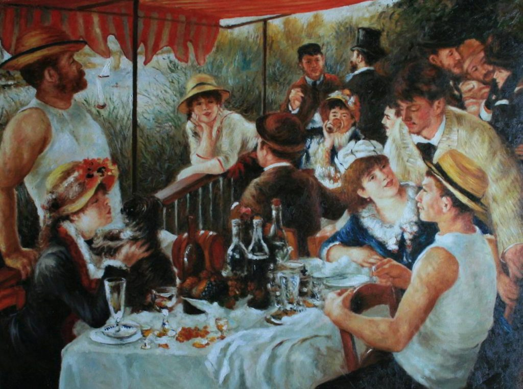 Berühmte Ölgemälde: Das Frühstück der Ruderer 1880–81 130cm × 173 cm - Öl auf Leinwand Pierre-Auguste Renoir (25. Februar 1841 in Limoges, Limousin - 3. Dezember 1919 in Cagnes-sur-Mer) Impressionismus Phillips Collection, Washington, D.C