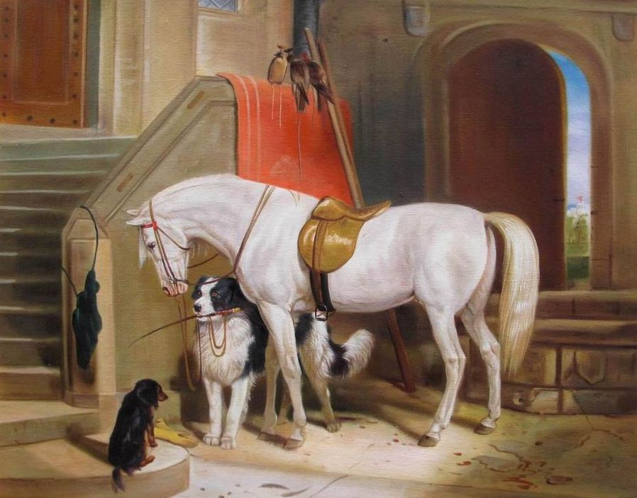 Berühmte Ölgemälde: Sir Edwin Henry Landseer (1802 - 1873) The Property of H.R.H. Prince George of Cambridge (Reproduktion von www.Chinamaler.de) Öl auf Leinwand von 1834 - 1835 Originalgröße 101,6cm x 125,7cm Yale Center for British Art, Paul Mellon Collection