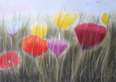 Pastellkreide Bilder Blumen