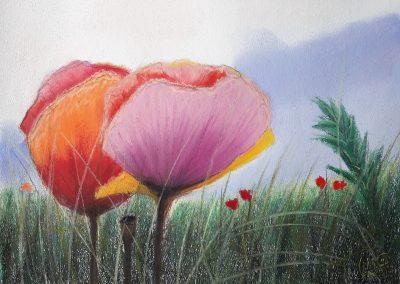 Pastellkreide Blumen