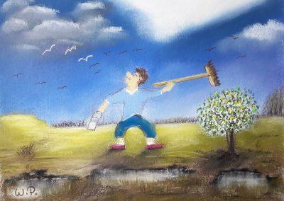 Pastellkreide Motive Fritz verscheucht die Vögel