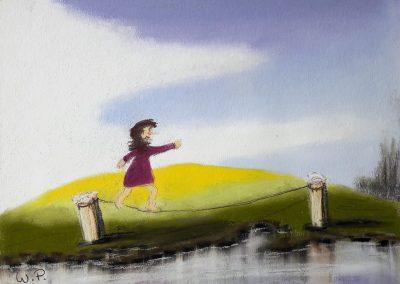 Pastellmalerei Lotte balanciert
