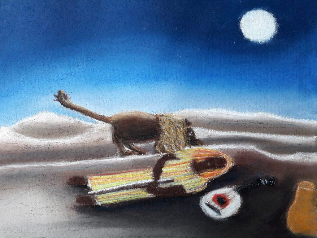 Malvorlage mit Pastellkreide, nach Henri Rousseau, Die schlafende Zigeunerin.