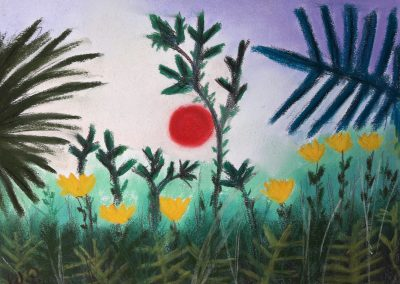 Versuch: Urwald mit untergehender Sonne, von Henri Rosseau, nachzumalen