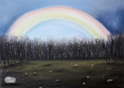 Naive Kunst Merkmale - Regenbogen am Tagesende, bei einer Wanderung, in Bodenwerder.