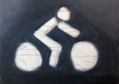 Einfaches Pastellbild - Radweg-Markierung in Épina