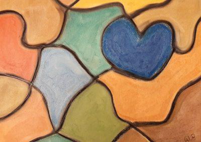 Herz Bild Nr. 1 mit irisierenden Pastellkreiden erstellt