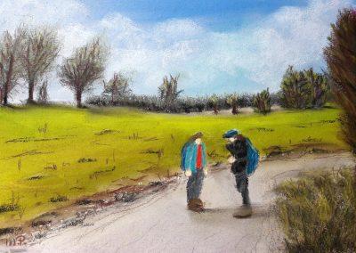 Zwei Wanderer in Frankreich