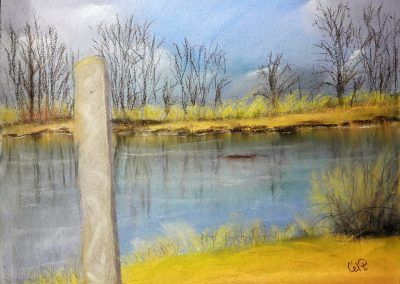 Am Teich Pastellgemälde