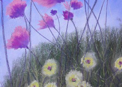 Zwei Blumensorten in Pastell gemalt