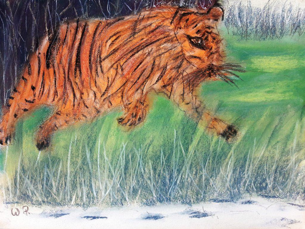 Künstler kämpfen wie ein Tiger im Dschungel
